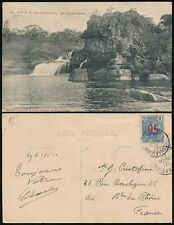 FRENCH GUINEA 1913 PPC 05 SURCHARGE 25c SINGLE FRANKING...GRANDES CHUTES GUINEE