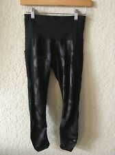 Lululemon Seek The Heat Crop Pant Black Inky Floral Mesh Size 4
