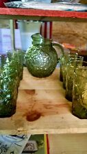 Vintage Anchor Hocking crinkle texture green glass pitcher with 8 glasses.