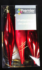 18 x Red Icicle Drop shatterproof Christmas Tree Baubles REDUCED TO CLEAR