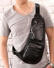 Men's Vintage Genuine Leather Travel Hiking Messenger Shoulder Sling Chest Bag