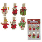 Pack of 6 x WOODEN CHRISTMAS DESIGN MINI PEGS for DECORATION, CARD HANGING, ...