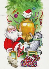 RARE New Year tea party Santa Claus Cat Samovar Ataeva Russian modern postcard