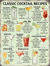 A4 SIZE - CLASSIC COCKTAIL RECIPES - TIN SIGN METAL PLAQUE SHABBY CHIC RETRO 204