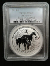2014 1oz .999 Fine Silver Australia Lunar Year of the Horse Lion Privy PCGS MS69