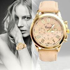 Moda Mujer Geneva Analógico De Cuarzo Números Romanos Correa Cuero Reloj Pulsera