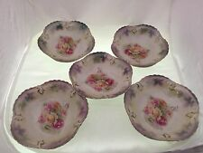 5 Antique R S Prussia Rose Bowl Set Floral Pattern