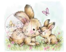 New Wild Rose Studio Clear rubber stamp EASTER SPRING BUNNIES free us ship