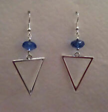 ELEGANT TRIANGLE SPEAR SILVER PLATED DROP EARRINGS blue FACETED BEAD hook