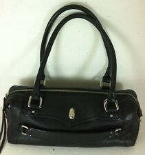 Cole Haan Black Pebbled Leather Double Handle Handbag Purse Barrel Doctor Bag