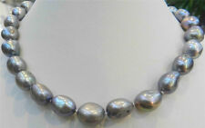 LARGE 11-12MM SILVER GRAY REAL BAROQUE CULTURED PEARL NECKLACE