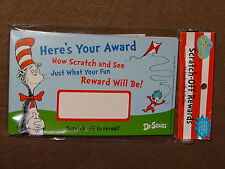 Dr. Seuss The Cat In The Hat Scratch Off Rewards-24 Per Pkg-2 Designs.-NIP