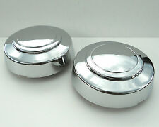 95-14 FORD E150 E250 E350 VAN 2WD CHROME FRONT WHEEL CENTER CAPS SET PAIR NEW