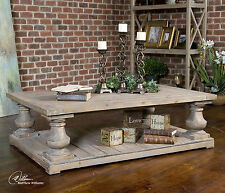"LARGE 60"" SOLID RECLAIMED FIR WOOD SUN FADED FINISH COFFEE TABLE VINTAGE STYLE"