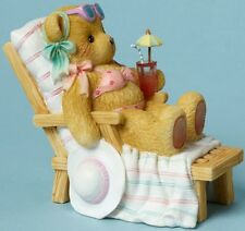 Cherished Teddies BEAR SUNBATHING ON BEACH CHAIR WITH A DRINK Figurine NIB