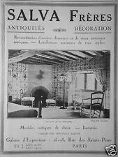 PUBLICITÉ 1929 SALVA FRÈRES MEUBLES RUSTIQUES DE CHOIX LUSTRERIE - ADVERTISING