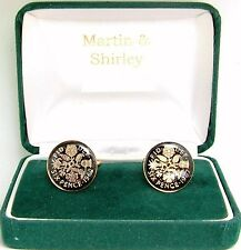 1962 Sixpence cufflinks from real coins in Black & Gold