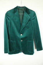 VINTAGE GREEN VELVET BLAZER COAT JACKET 90s MENS XS - SMALL