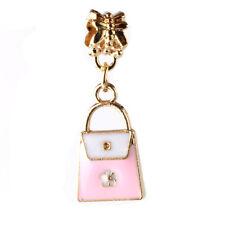 2pcs 18K gilded Bags LAMPWORK fit European Charm Bracelet pendant Chain #W121