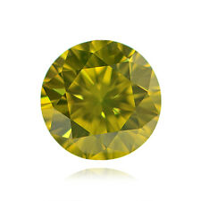 Yellow Loose Diamond Round Cut Natural Fancy Color 0.67 Carat VS1