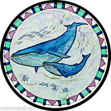 STAINED GLASS WINDOW ART - STATIC CLING  DECORATION - BLUE WHALES