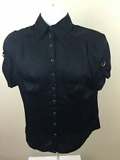 bebe Button Front Buckle Sleeve Black Blouse Silk Blend Top Clubwear Large L