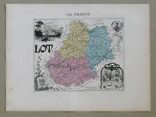 LOT Carte géographique Vuillemin Atlas Migeon CAHORS MONTCUQ Clément Marot