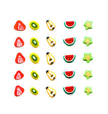 25 FIMO FRUITS NAIL ART DECORATIONS SLICES FOR NAILS PEAR MELON STRAWBERRY