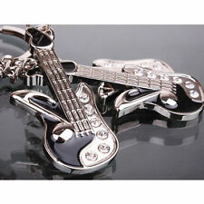 Fashion Lover Swarovski Crystal Guitar Key Ring Chain Cute Keychain Gift
