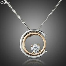 Fashion Austrian Crystal Double Ring Chain Pendant 18K Gold Plated Necklace