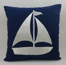 "Nautical Embroidered Pillow Cover -Sailboat - 18"" x 18""- Navy - Beach Decor"