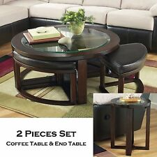 FISHER-2pc Round Cocktail Coffee W/ Stools End Occasional Tables Set Living Room