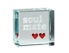 Spaceform Glass Text Token Soul Mate 2 Hearts 967 Valentines Day Love Gift