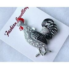 Wholesale Lot 6 Enamel Decorated Figural Rooster Brooch with Rhinestone Accents