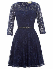 Navy Tea-length Lace Mother of Bride Dresses Vintage Half Sleeve Party Ball Gown
