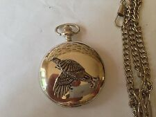 B40 Black Grouse  polished silver case mens GIFT quartz pocket watch fob
