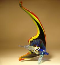 "Blown Glass ""Murano"" Figurine Black, Red and Yellow Sail FISH"