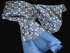 "Men's 100% Silk Scarf / Light Blue / Geometric / 64"" X 10"" / with fringe"