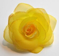 "SMALL 3"" Sheer Sparkle Yellow Rose Artificial Silk Flower Hair Clip Wedding"