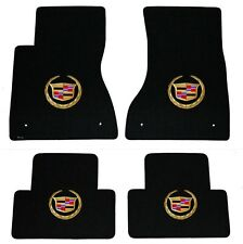NEW! BLACK FLOOR Mats 2003-2007 Cadillac CTS Gold Crest logo on All 4 Mats