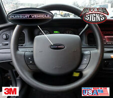(2) DOMED Ford Crown Victoria PURSUIT VEHICLE P71 steering wheel emblem overlays