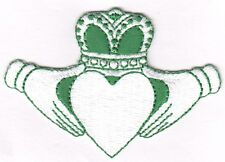 IRISH CLADDAGH, GREEN & WHITE- ST. PATRICK'S DAY, SHAMROCK, LUCKY-Iron On Patch