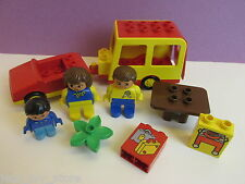 lego DUPLO vintage HOLIDAY CARAVAN & FAMILY FIGURES barbecue city SET lot 239