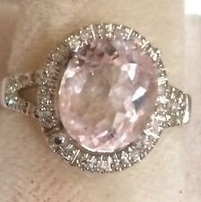 3.08CT   NATURAL MORGANITE AND  DIAMONDS RING IN WHITE GOLD