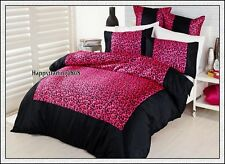 KOO Wild Thing Black Pink Leopard Faux Silk 5pc Queen Quilt Doona Cover Set Euro