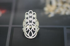 Sterling Silver Hamsa Love Infinity CZ Micro Pave Ring