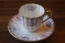 Shelley Demitasse Teacup Tea Cup Saucer Baskets Purple Ludlow Flowers Bows gold