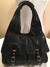 "Kooba ""Micki"" Black Soft Leather Large Hobo Shoulder Bag Hand Purse"