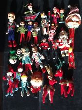 Lot 22 Vtg Hugger Shelf Elf Sitter Pixie Felt Dream Pet Christmas Japan Ornament