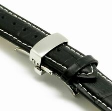 20mm Black Leather Watch Band Crocodile Grain Butterfly Clasp Fit Any Watch 20mm
